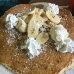 This was an order of banana Macadamia but pancakes I added to my meal instead of toast for $5.95