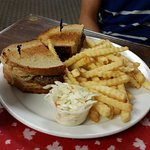 Patty Melt burger, fries and coleslaw