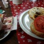 Mushroom Mozza burger, soup
