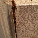 shower stall- rust and mold.