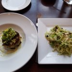 Peeky toe Crabcake, Shaved Brussel sprout salad