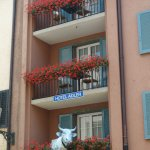 Hotel Adler, exterior , balconies and cow sculpture