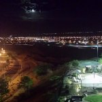Interesting nite time views from high above Interstate. Pool and play area lit after dark.