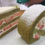 Green take rollcake and gateau