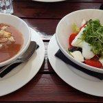 Gazpacho Andaluz (small) and Tomaten-Büffelmozzarella Salat (big)