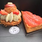 Pastry on the left- unknown pistachio concoction. Right- grapefruit tart.