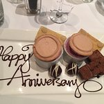 A surprise desert plate to celebrate our anniversary