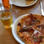 Lumberjack Pizza and delicious beer!