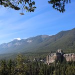 "Banff Springs Hotel From the wooden ""Lookout"""