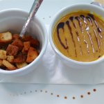 Butternut squash soup and croutons