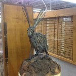 A jackrabbit made of barbed wire.