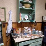 The vintage kitchen in the historical museum.