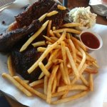 ribs, brisket, and fries