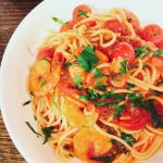 tomato and prawn pasta for seafood lover
