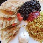 Jerk Chicken Quesadillas + rice & black beans