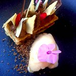 Mille-feuille, dark chocolate mousse, white chocolate crème and crumbs, hazelnuts sorbet