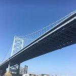 Ben Franklin bridge on Delaware River at Philadelphia