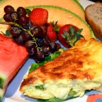 Weekend Brunch Crustless Quiche with Fresh Fruit and Banana Nut Bread