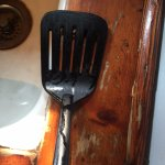 Rancid grease on the spatula... we hadn't even unpacked yet.