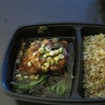 Salmon with sauce, corn relish and rice
