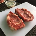 Fresh fat steaks getting prepared for the barbie!