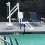 Chair lift for those needing assistance into and out of the pool.
