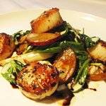 Seared Sea Scallops, cauliflower purée, baby tatoi, crisp bacon, maitake & shimeji mushroom sala