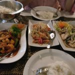 Prawns in Red Curry Sauce, Papaya Salad and Stir Fried chicken