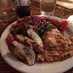 Lunch grilled chicken with garlic sauce