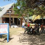 Easy-going beach cafe serves food and drinks all day long.