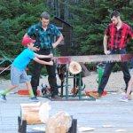 Kids learning to cross-cut saw