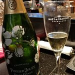 Perrier Jouet in Moet and Chandon glasses.....