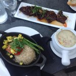 Korean ribs, grilled salmon and salmon clam chowder
