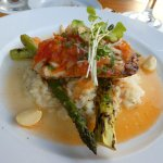 Special Ono over grilled asparagus and lemon risotto. DELISH!!