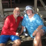 Great time after snorkeling at Halh Moon Bay. WEst End, Roatan