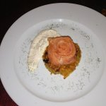 Marinated salmon on Rossi as a starter