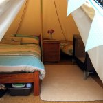 Our new glamping area - 4X4 bell tent called 'Kynance'
