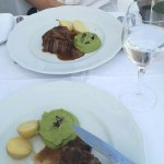 The steak was also accompanied by black truffle sense and mushrooms.