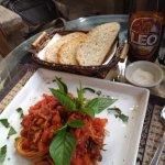 Spaghetti ,fresh-baked bread and Parmesan