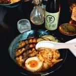 slow braised pork belly, miso butter & sesame broth