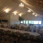 The wedding breakfast barn - half way through the decoration.