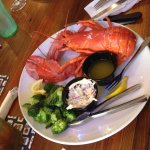 Lobster, broccoli, and coleslaw!! Yum!