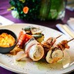 Bordírozott pisztrángfilé, sült zöldségek, aszalt paradicsomos majonéz