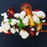 Tomatoes , Goats Cheese Granita, Bloody Mary Jelly