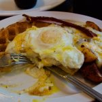 This was my Wafflelaughagus. Waffle w/melted cheese, gravy, eggs, potatoes and bacon.