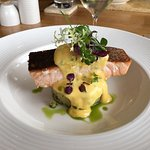 Fried fillet of salmon with Hollandaise sauce