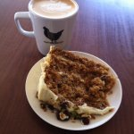 Large Latte and Carrot & Orange cake, and range of cakes / treats on offer.