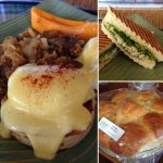 Eggs Benedict, Herb Roasted Chicken Panini Sandwich, Portuguese Sweet Bread