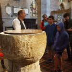 Tour guide tales in the Brecon Cathedral.