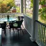 The upper level porch overlooking the Delaware Canal